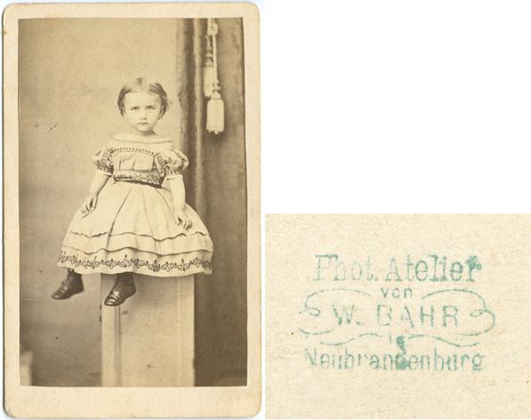 Wilhelm Bahr; Visitformat; rückseitiger Stempel vergrößert dargestellt