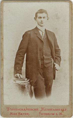 Max Bayer. Visitformat, Rückseite blanko