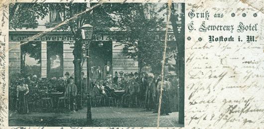 Gruß aus Lewerenz Hotel, Ausschnitt aus einer Postkarte, 1903 gelaufen. Verlag A. Becker, Rostock.