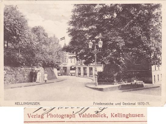 Ansichtskarte, 1912 gelaufen, rückseitiger Aufdruck vergrößert dargestellt