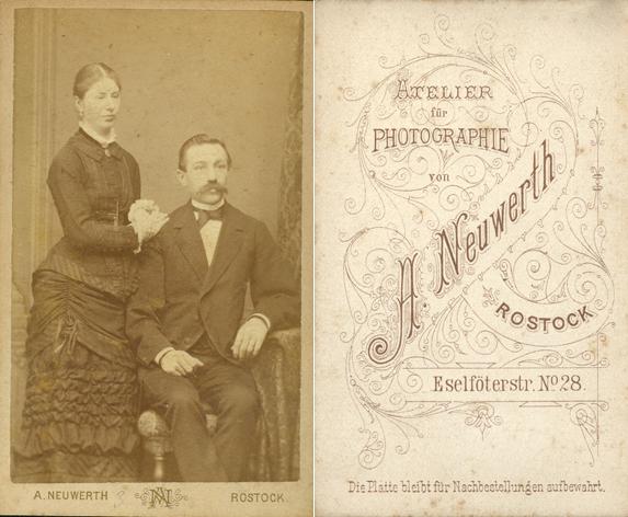 Anna und Heinrich Gribnitz, um 1883. Fotograf: A. Neuwerth