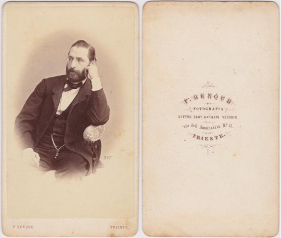 F. Benque, Trieste, spätestens 1865. Visitformat