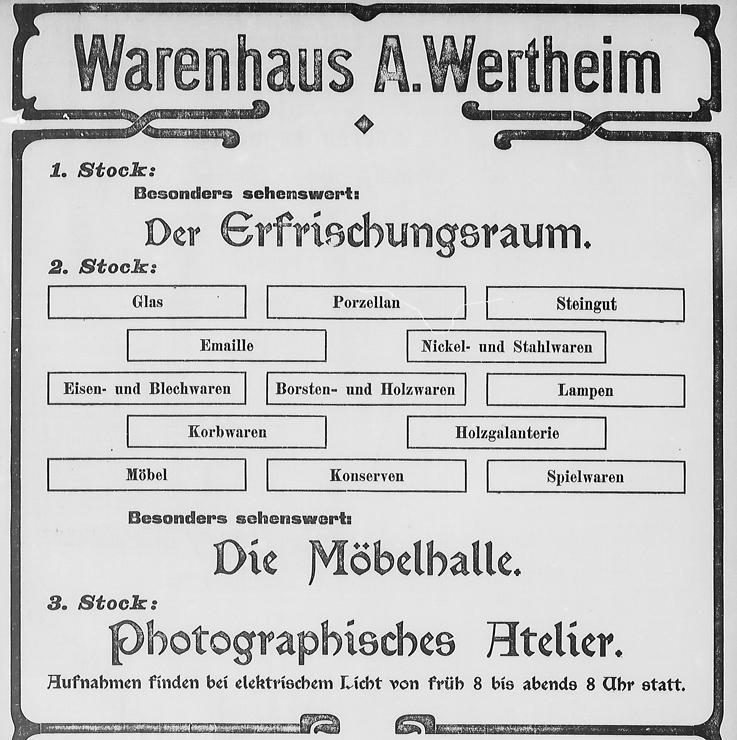 Ausschnitt aus der Eröffnungsanzeige des Wertheim-Neubaus; Rostocker Anzeiger, 14.10.1903