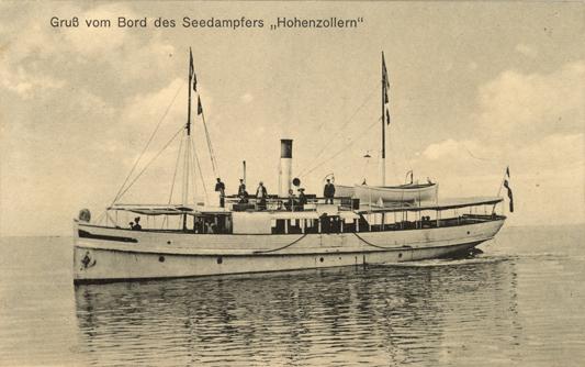 """Seedampfer """"Hohenzollern"""". Verlag Foto-Heiland, Kunstanstalt, Rostock. Ansichtskarte, 1914 beschrieben"""
