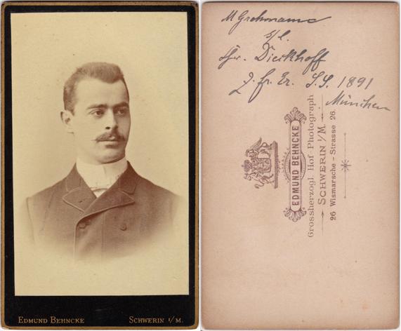 Max Grohmann stammte aus Wittenförden, studierte 1891 Medizin in München. Fotograf: Edmund Behncke, Schwerin.