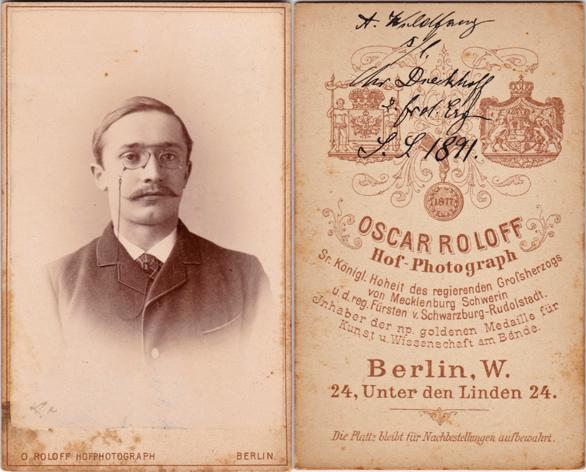 Adolf Wildfang aus Boizenburg studierte im WS 1890/91 Jura in Rostock. Fotograf: Oscar Roloff, Berlin
