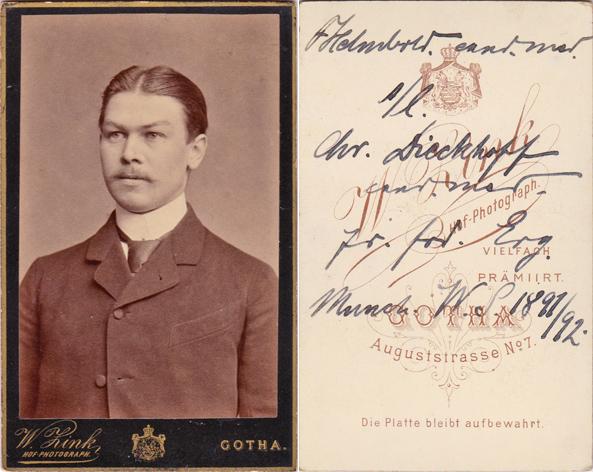 Fritz Helmbold aus Gotha studierte 1891/92 Medizin in München. Fotograf: W. Zink, Gotha
