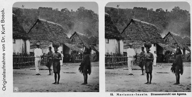 15. Marianen-Inseln. Strassenansicht von Aganna. Stereofotografie. NPG