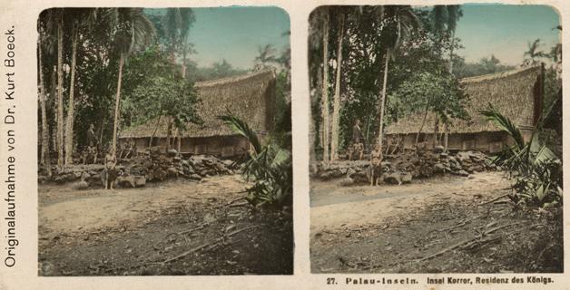 27. Palau-Inseln. Insel Korror, Residenz des Königs. Kolorierte Stereofotografie. NPG
