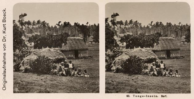 63. Tonga-Inseln. Dorf. Stereofotografie. NPG