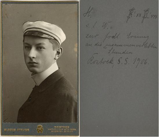 Studentenporträt. Sommersemester 1906. Visitformat
