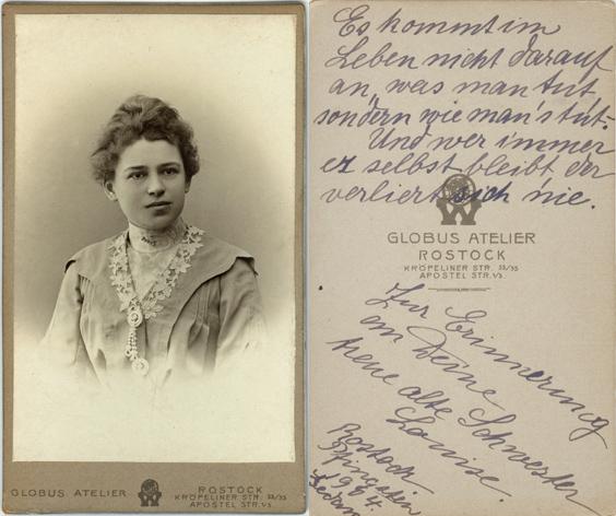 Louise, Tochter eines Rostocker Bankdirektors. 1904. Visitformat