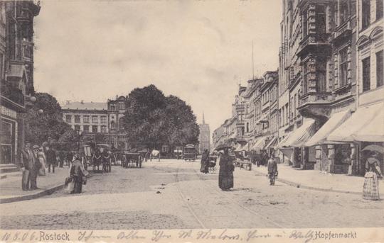 Hopfenmarkt. Ansichtskarte. 1906 gelaufen.