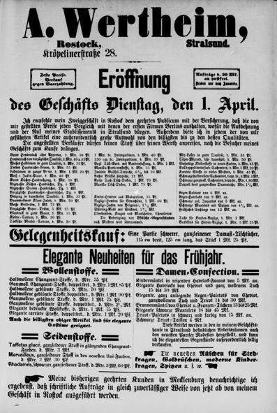 Ganzseitige Anzeige, Rostocker Anzeiger 30.03.1884