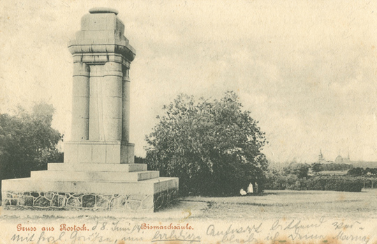 Gruss aus Rostock. Bismarcksäule. Ansichtskarte. 1904 gelaufen.