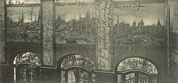 Drei Rostocker Stadtansichten über den Durchgängen zum Wintergarten. Ansichtskarte, Ausschnitt, 1904 gelaufen. Globus-Verlag