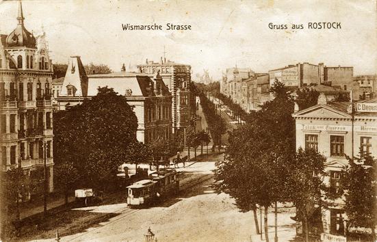 Wismarsche Straße. 1909 gelaufen.