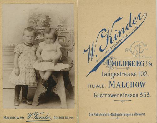 W. Kinder. Malchow und Goldberg. Visitformat. © Sammlung Klaas Dierks