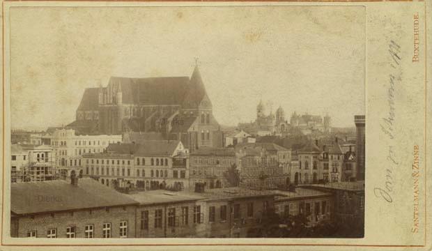 Adolph Zinne. Schweriner Dom. Untersetzkarton aus Zinne Vorgängeratelier in Buxtehude. © Sammlung Klaas Dierks