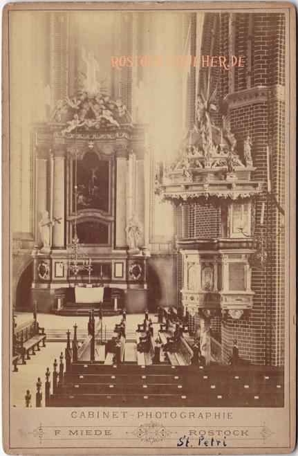 St. Petri, Altar und Kanzel, wohl um 1890, Kabinettformat, Rückseite blanko
