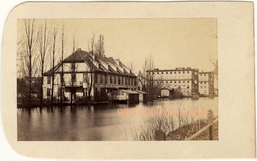 Wasserheilanstalt und Speicher am Mühlendamm, 1860er Jahre, Rückseite siehe A1