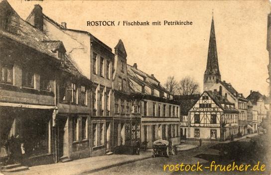 Fischbank mit Petrikirche. 1921 gelaufen