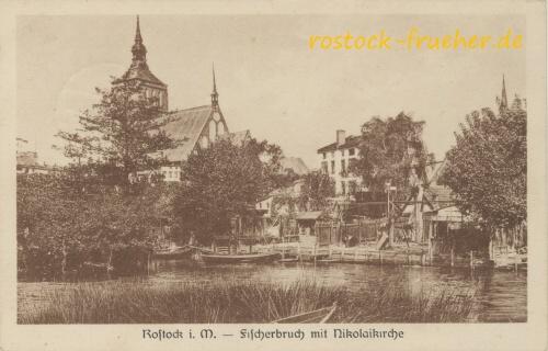 Fischerbruch mit Nikolaikirche. Rönnberg. 1934 gelaufen