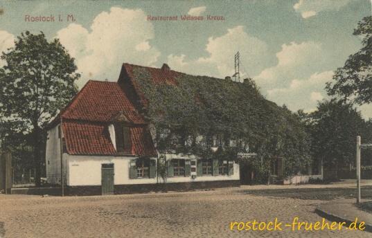 Restaurant Weisses Kreuz. 1919 gelaufen
