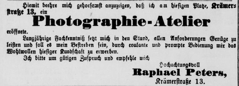 Eröffnungsanzeige, Rostocker Anzeiger, 24.10.1884