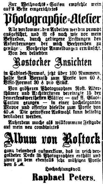 Rostocker Zeitung, 19.11.1885