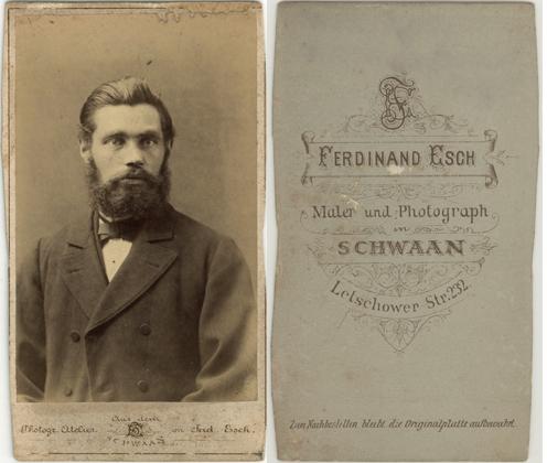 Ferdinand Esch. Visitformat, beschnitten. siehe auch Ludwigslust