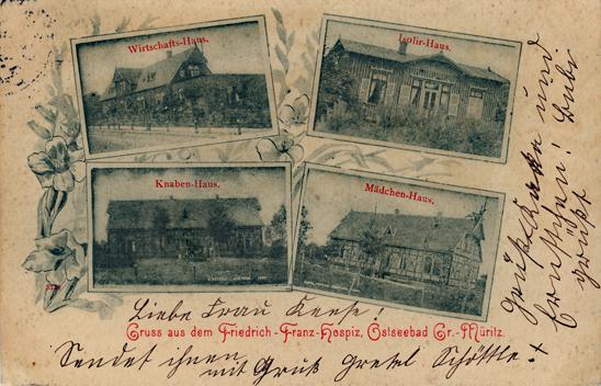 Gruss aus dem Friedrich-Franz-Hospiz, Ostseebad Graal Müritz. Ohne Verlagsangabe. 1899 gelaufen.