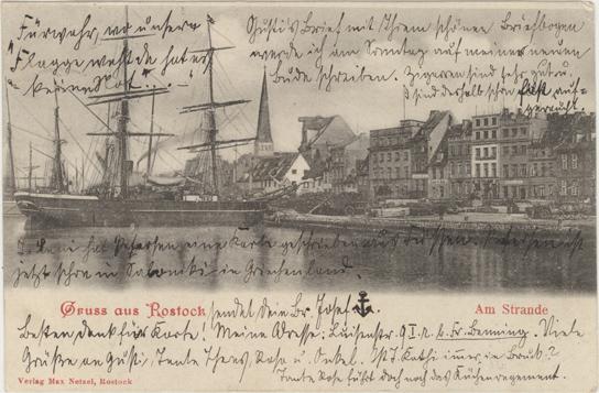 Am Strande. Verlag Max Netzel, Rostock. 1902 gelaufen