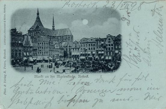 Markt an der Marienkirche. 1898 gelaufen. Identisches Motiv weiter oben als Kabinettformat