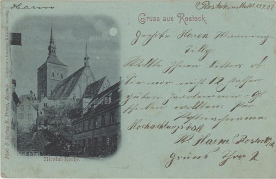 Nicolai-Kirche. Photo & Verlag R. Peters, Rostock. Lichtdruck v. Knackstedt & Näther, Hamburg. 1902 gelaufen