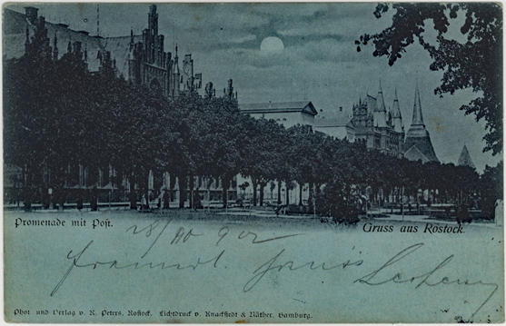 Promenade mit Post. 1902 gelaufen. Nach einer Originalaufnahme von 1893