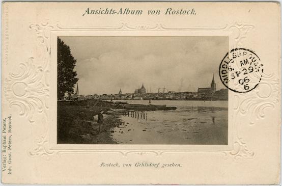 Ansichts-Album von Rostock. Leporello-Klappkarte. Verlag: Raphael Peters, Inh. Gustav Peters. 1906 gelaufen