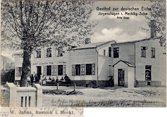 Jürgenshagen. Gasthof zur deutschen Eiche. Rückseitiger Namensaufdruck vergrößert dargestellt.