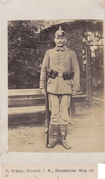 Postkarte, 1916 gelaufen, rückseitiger Namensaufdruck vergrößert dargestellt
