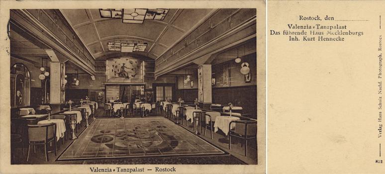 """Valenzia- Tanzpalast. Ansichtskarte. Ungelaufen. 1928 datiert. Später firmierte diese Einrichtung am Doberaner Platz bis in die 1990er Jahre als """"Trocadero"""""""