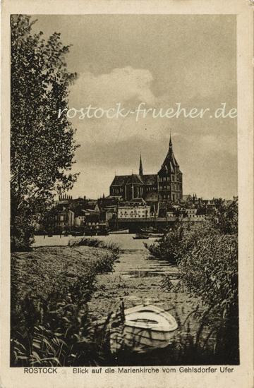 Blick auf die Marienkirche vom Gehlsdorfer Ufer