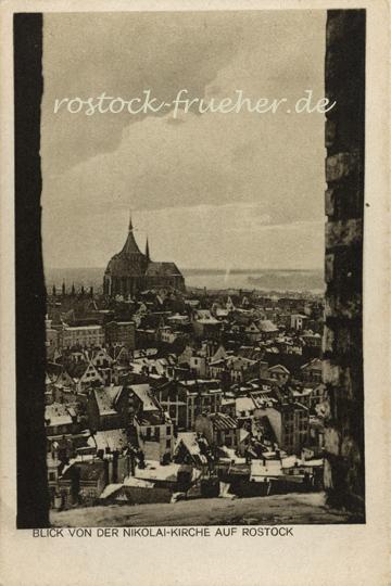 Blick von der Nikolai-Kirche auf Rostock