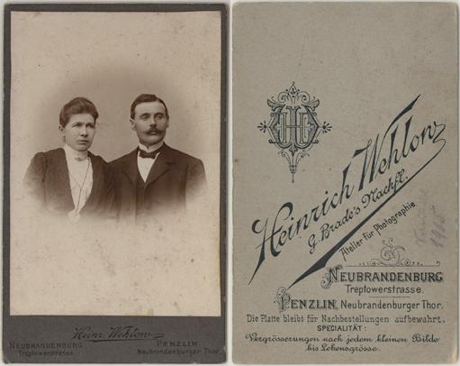 Heinrich Wehlow. Neubrandenburg und Penzlin. Visitformat