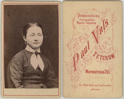 Paul Voß. Putzhandlung, Photographisches Kunst-Institut. Visitformat