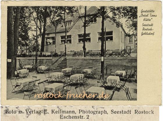 """Gaststätte """"Onkel Toms Hütte"""", Seestadt Rostock-Gehlsdorf. Ansichtskarte, 1941 gelaufen"""