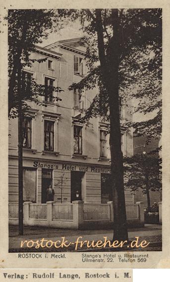 Stange´s Hotel und Restaurant. Ulmenstr. 22. Ansichtskarte