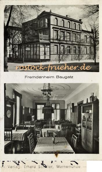 Fremdenheim Baugatz, Wachtlerstraße 6. Ansichtskarte, 1938 gelaufen