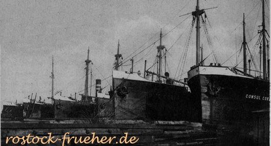 Fünf Schiffe der Reederei Cords liegen in der Neptun-Werft. Rostocker Anzeiger, Wochenendbeilage (ohne Datum) 1930