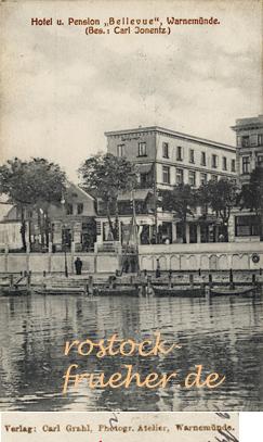 """Hotel und Pension """"Bellevue"""". Ansichtskarte, 1914 gelaufen"""