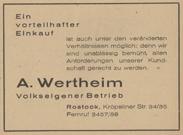 Anzeige aus einem Stadtplan, um 1949